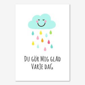 Söt barntavla med glatt regnmoln.