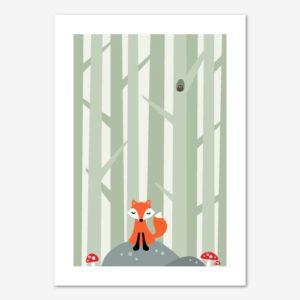 Söt räv på sten i skogen, barntavla