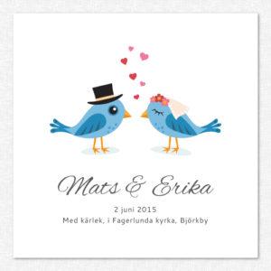 Söt bröllopstavla med personlig text och blå fåglar