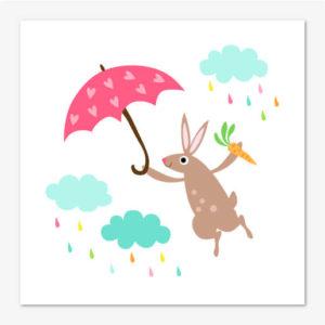 Barntavla med söt kanin och regnmoln.
