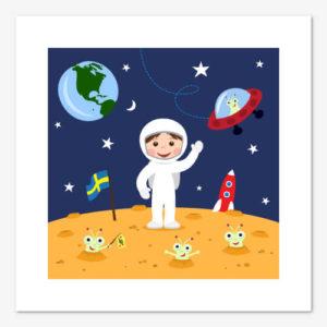 Grafiskt tryck för barn med rymdmotiv