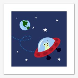Fin tavla för barn med illustration föreställande en utomjording som kör ett rymdskepp genom rymden
