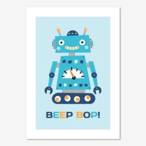 Fin barntavla med illustration av robot och text: Beep bop