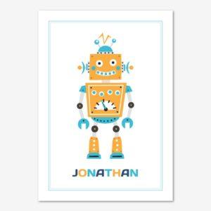 Tavla för barnrum med gul, retro robot och personligt anpassat namn.