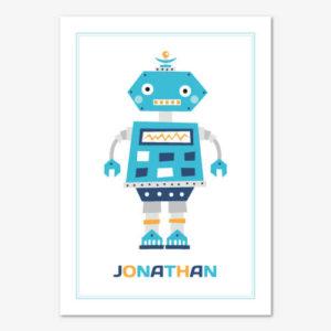 Barntavla med en kul blå. retro robot och personligt namn.