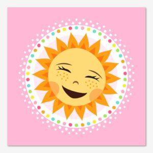 Glad barntavla med skrattande sol