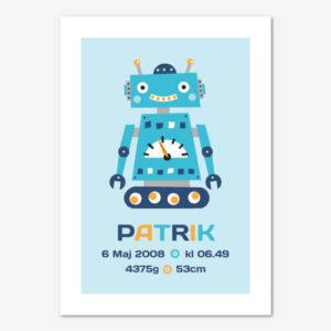 Doptavla eller namntavla med en liten robot och personligt anpassad text