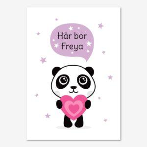 Barntavla med söt panda och personligt anpassat namn