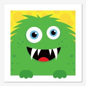 Rolig tavla för barn med ett knasigt, grönt monster