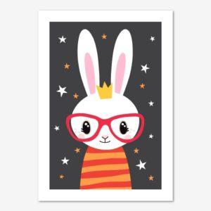 Söt barntavla föreställande en kanin med glasögon och randig tröja