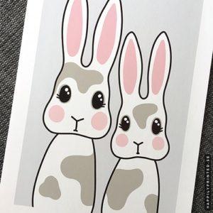 Barntavla föreställande två söta kaniner