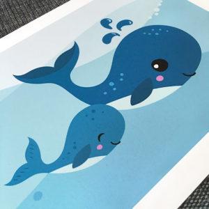 Tavla för barn med söta valar