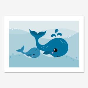 Fin barntavla med blåvalar, en stor och en liten