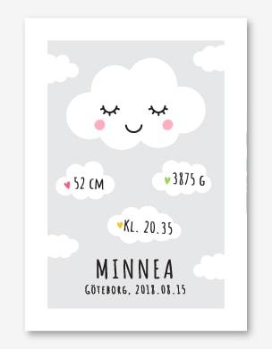 Söt födelsetavla med moln och personligt namn, vikt, längd, klockslag och födelseort.