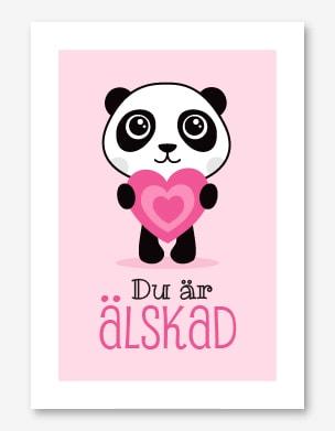 Barntavla med panda som håller i ett rosa hjärta. Text