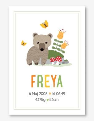 Födelsetavla med en björn bredvid en sten i skogen, fjärilar och svampar.