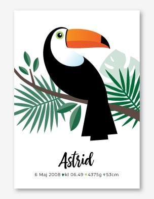 Snygg födelsetavla med en tropisk fågel. Stilren design med personligt anpassad text.
