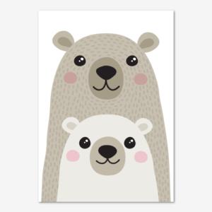 Söt tavla för barn föreställande två björnar, en mamma eller pappa med sin björnunge
