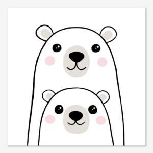 Fyrkantig barntavla med söt illustration av två isbjörnar